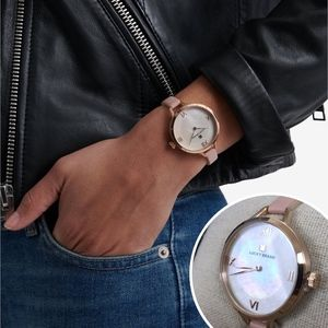 Lucky Brand Indio Blush Leather Pearl Face Watch